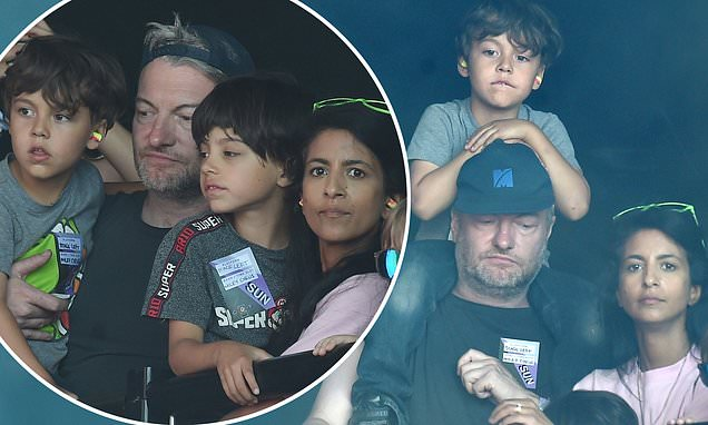 Charlie Brooker and wife Konnie Huq take their sons to see Miley Cyrus