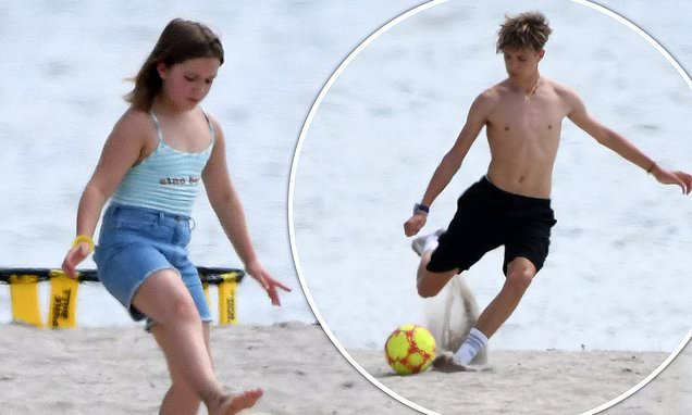 Harper Beckham joins Romeo and Cruz for football game in Miami