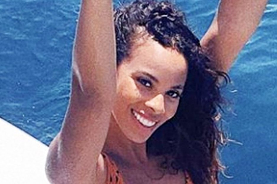 This Morning bombshell Rochelle Humes spills out of plunging swimsuit in red-hot display