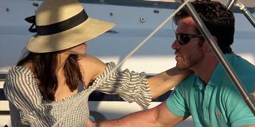 Alexandra Daddario & Brendan Wallace Enjoy a Relaxing Yacht Ride in Italy