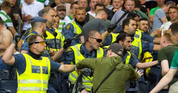 Celtic fans clash with baton-wielding police at AIK as fans slam 'idiots'