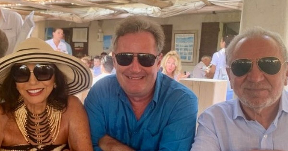 Piers Morgan jokes about chaos back home on boozy holiday lunch with Alan Sugar