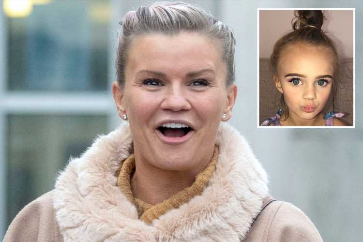 Kerry Katona hits back at trolls after her daughter Dylan-Jorge, 5, wore a full face of makeup for Instagram snaps – The Sun
