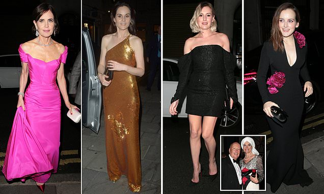 Downton Abbey's Laura Carmichael puts on a leggy display in a sexy LBD