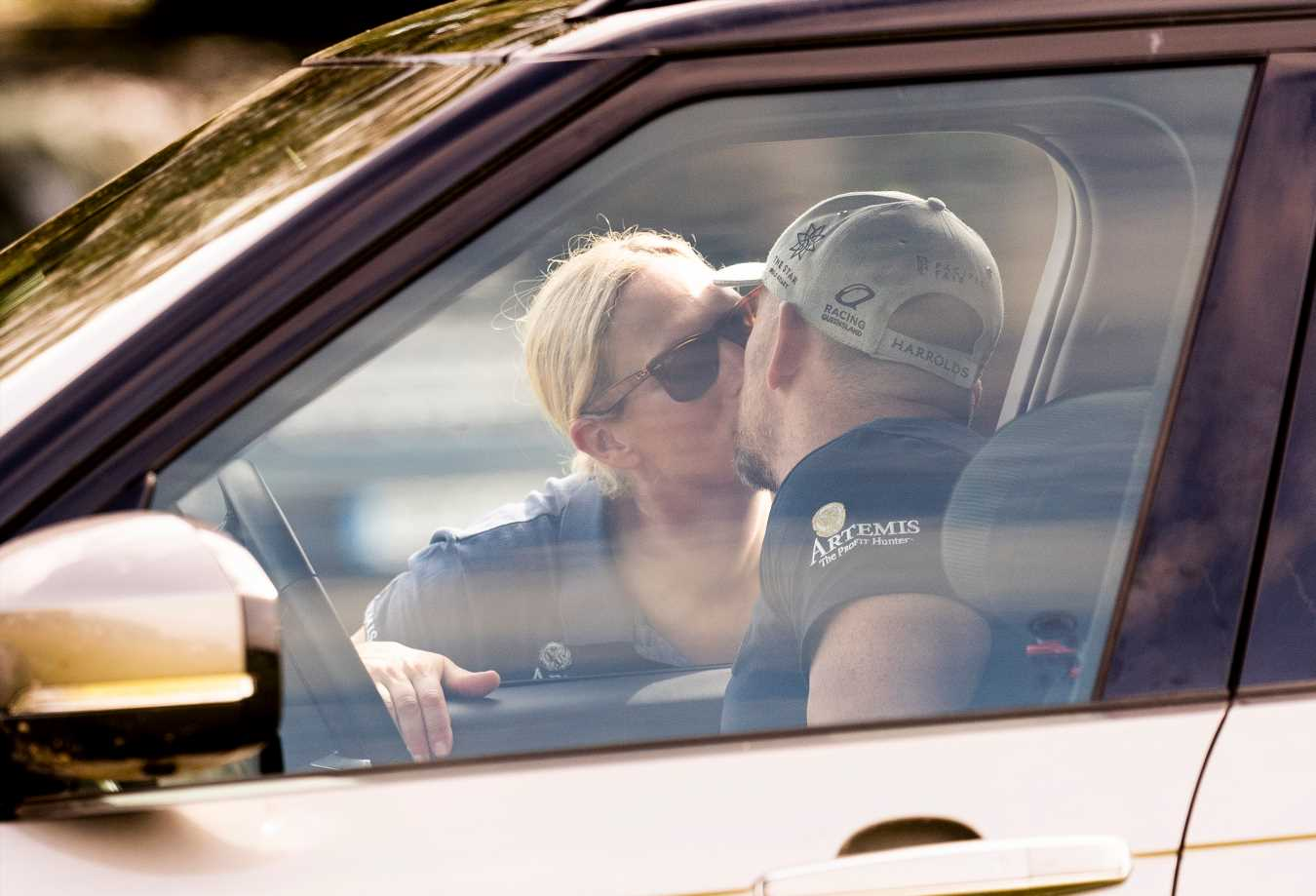 Queen's Granddaughter Zara Tindall Gets a Good Luck Kiss from Husband Mike at Horse Riding Event