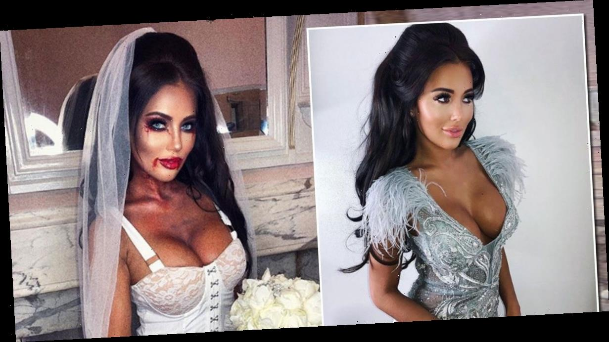 Yazmin Oukhellou slips into skimpy corset dress for TOWIE Halloween special