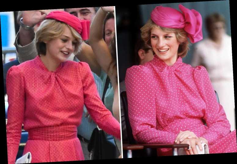 The Crown's Emma Corrin looks full of grace as Princess Diana as she films in Malaga