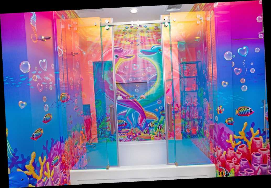Lisa Frank hotel room surrounds guests in psychedelic rainbows