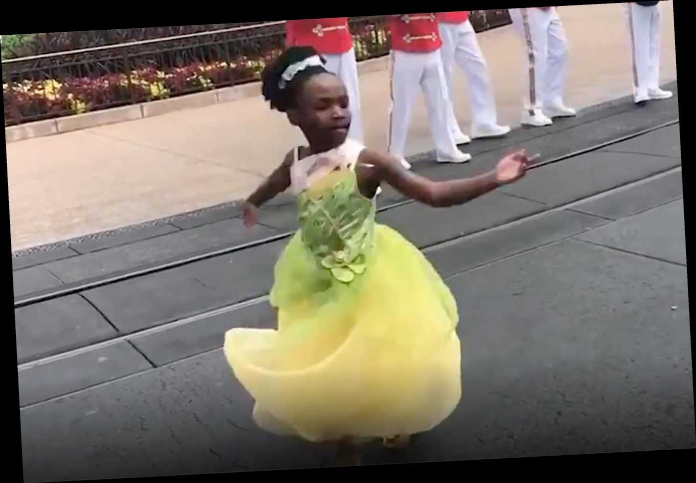 8-Year-Old at Disney World Dressed as Princess Tiana Wows Crowd with Her Dancing in Viral Video
