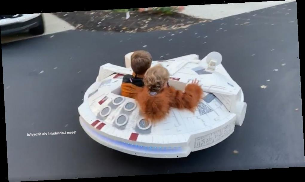 Dad builds mini-Millennium Falcon for epic trick-or-treating this Halloween