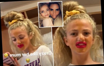 Katie Price's daughter Princess, 12, wears her mum's lipstick and bright orange foundation