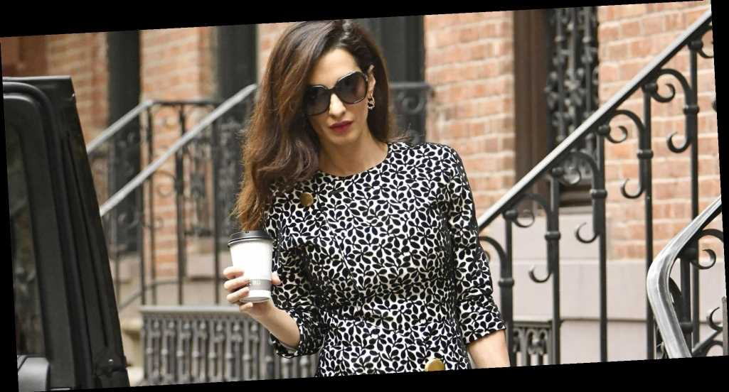 Amal Clooney Masters 9-to-5 Style in Black-and-White Print Dress