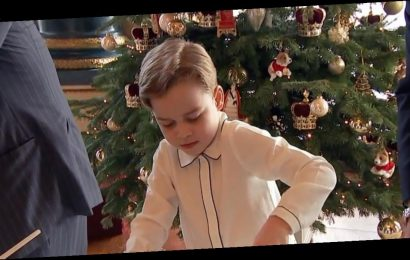 Prince George laughs with Queen while making Christmas puddings in new footage