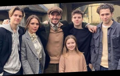The Beckhams pose for family photo as they dress up for posh retreat