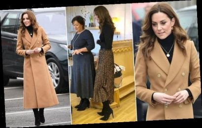 Kate Middleton steps out in a £349 tailored Massimo Dutti camel coat