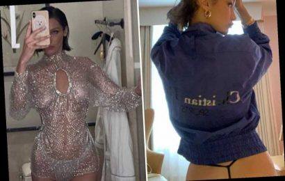 Bella Hadid shows off bare butt in G-string during her scantily-clad trip to Paris Fashion Week