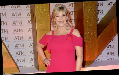 Loose Women star Ruth Langsford points out that she has lipstick on her blazer live on air