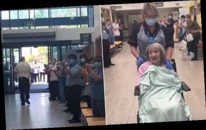 NHS staff form guard of honour as great-grandmother is discharged