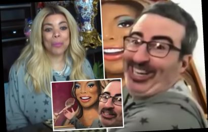 Wendy Williams and John Oliver sport matching sweats as she gifts him a painting of herself chomping on a lamb chop – The Sun