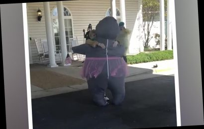 Woman wears inflatable hippo suit to safely hug mother in nursing home