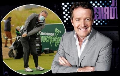Piers Morgan plays a socially-distanced charity golf tournament