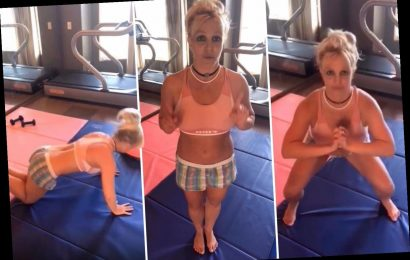 Britney Spears returns to her home gym she burned down as she tells fans how to get a 'tight buttocks'
