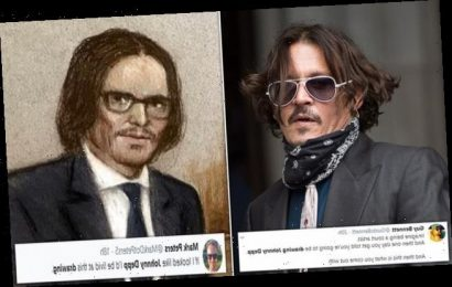 Court sketch ofJohnny Depp in the High Court is ridiculed on Twitter