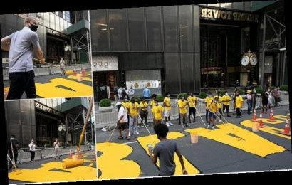 Painting starts on huge BLM mural on Fifth Avenue outside Trump Tower