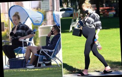 Pregnant Sophie Turner shows off huge baby bump on family picnic with Joe Jonas – The Sun