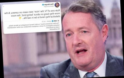 Piers Morgan posts scathing tweet about 'nice' TV stars saying they tend to be 'diabolical' in real life