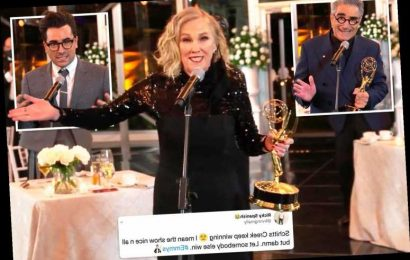 Schitt's Creek sweeps the board at first virtual Emmys leaving viewers furious stars won 'too many awards'