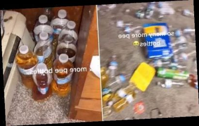 Filthy bedroom had bottles filled with URINE all over the floor