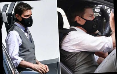 Tom Cruise stays safe with a face mask as he covers up on set of Mission Impossible 7 in Rome