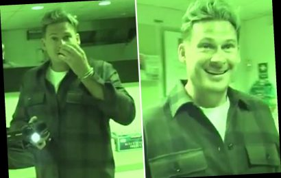 Hilarious moment Lee Ryan freaks out as 'ghost' strokes his face and tugs his ear on paranormal hunt
