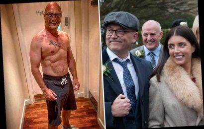 Gregg Wallace shows off his impressive six pack as he gushes about 'winning the lottery' with wife Anne-Marie