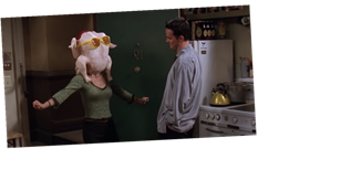 Courteney Cox recreates infamous Friends Thanksgiving scene as she dances with turkey on her head