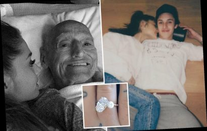 Ariana Grande fans spot secret clue her engagement ring from fiance Dalton Gomez pays tribute to late grandfather