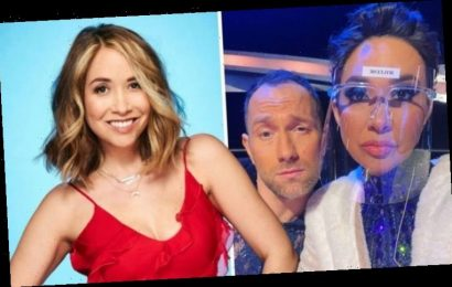 Dancing on Ice's Myleene Klass hides behind face shield amid fears of falling after injury