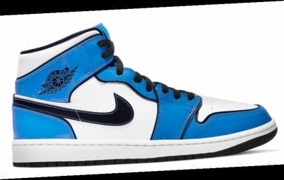 "Air Jordan 1 Mid ""Signal Blue"" Features Patent Leather Overlays"