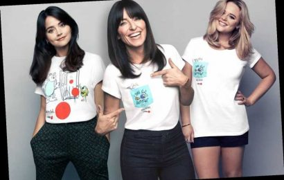 Emily Atack and Davina McCall don Pixar-themed T-shirts in support of Comic Relief