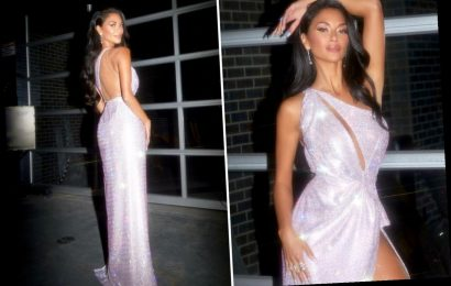 Nicole Scherzinger flashes her long legs in thigh-split dress ahead of The Masked Singer US premiere