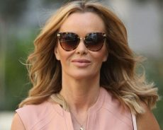 Amanda Holden bares killer figure in tight nude leather dress as she braves cold