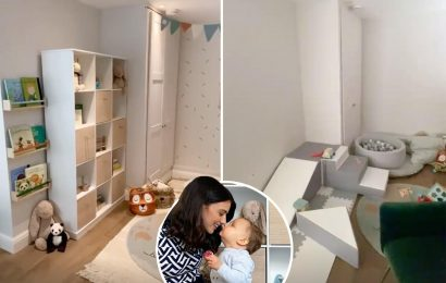 Lucy Mecklenburgh reveals incredible playroom transformation with ball pit, bunting and soft play slide for son Roman