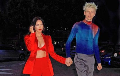 Megan Fox sizzles in red suit and bra for date with Machine Gun Kelly