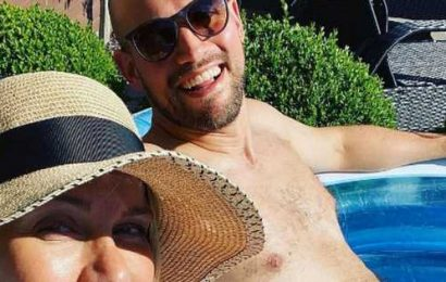 Kate Lawler and fiancé Martin sip cocktails in paddling pool on second postponed wedding date
