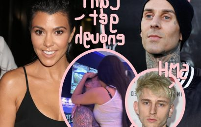 Kourtney Kardashian & Travis Barker Share MORE PDA In The Studio – While Machine Gun Kelly Is Trying To Record!