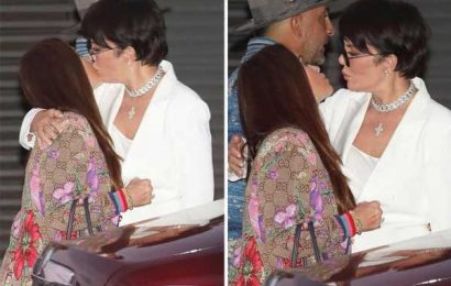 Kris Jenner kisses RHOBH's Kyle Richards on the lips as the pair embrace after dining together in Malibu
