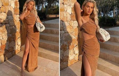 Molly-Mae Hague shows off her toned abs in cut-out maxi dress in Ibiza for fashion shoot