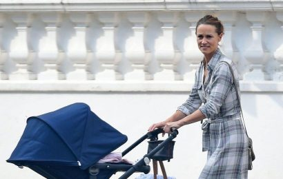 Pippa Middleton soaks up the sunshine in checked dress on a stroll with baby daughter