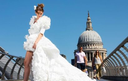 Walk down the aisle in the UK's first wedding dress made from 1,500 face masks